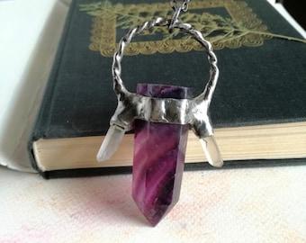 inspirational Raindbow Fluorite, Fluorite Necklace, Fluorite Crystal Pendant, Raw Fluorite Crystal Point, Healing Crystals, Purple necklace