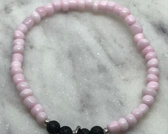 Dainty Pink Seed Bead Love Essential Oil Diffuser Bracelet