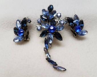Vintage Blue Brooch and Earrings Demi-Parure Set