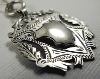 Sterling Silver Necklace with Vintage Watch Fob, Full British Hallmarks