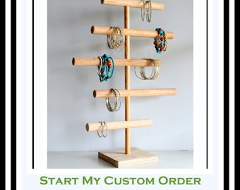 Large Bracelet Holder, Asymmetrical Jewelry Organizer, Jewelry Display Stand, Craft Show, Retail Rack, Mens Watch Holder, Headband Holder