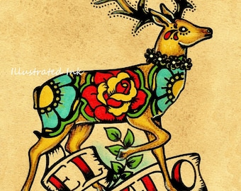 Mexican Folk Art Deer EL VENADO Loteria Print 5 x 7, 8 x 10 or 11 x 14