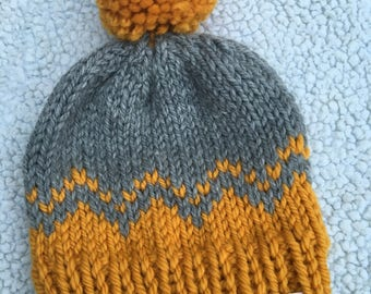 Toddler Mustard and Grey Chevron Knit Hat with Pom Pom