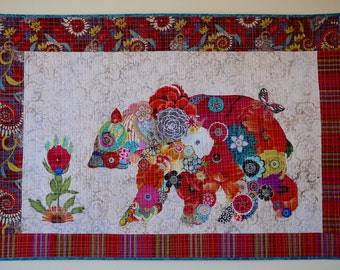 SALE—Paisley Bear Collage Floral Montana Grizzly Modern Wall Hanging nature forest Home Decor
