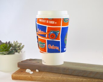 Coffee Cozy for Tapered Disposable Cups, Florida Gators Novelty Travel ToGo Token, University Lovers Adjustable Jacket Sleeve  Drink Carrier
