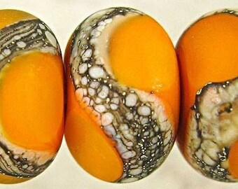 Frosted Orange Lampwork Glass Beads with Silvered Ivory, Handmade Set of 6 11x7mm Etched Orange Velvet