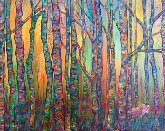 Fox in the Woods - Large Original Oil Painting - 36 x 24 Inches, Forest Landscape Painting
