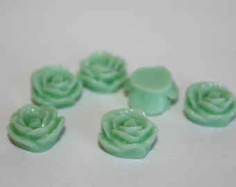 10 SMALL ROSE Cabochons - 12mm - Sea Foam Green Color