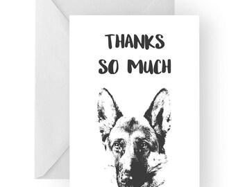 German Shepherd thank you card- German Shepherd greeting card, dog card, German Shepherd thank you card, German Shepherd gift