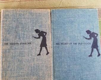 Vintage Lot of 2 Nancy Drew Tweed Hardback Books