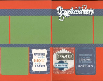 12x12 BE AWESOME scrapbook page kit, premade boy scrapbook, 12x12 premade scrapbook page, premade scrapbook pages, 12x12 scrapbook layout