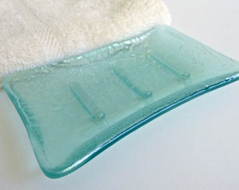 Pale Aqua Elegant Fused Glass Soap Dish by BPRDesigns