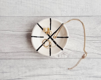 Ring Dish, Jewellery Dish, Condiment Dish, Homeware Gifts, Monochrome Home Accessories, Black and White Décor, Handmade Ceramics, Housewares