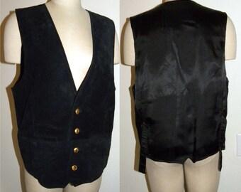 1980s 80s Men's Black Suede VEST / Wilsons Leather / Vintage size L