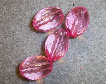 16x11mm faceted oval, pink acrylic, Sold per pkg 20 pc bags