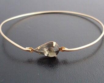 Gray Bangle Bracelet Johanna  - Gold Tone, Gray Rhinestone Jewelry, Gray Rhinestone Bracelet, Gray Bracelet, Gray Teardrop, Gray Jewelry
