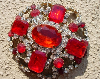 Vintage Pin or Brooch, Red and Clear Crystal, Signed