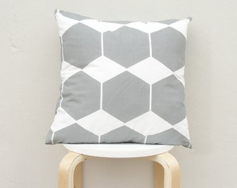 Gray Hexagon pillow cover, Gray Geometric Pillow Case