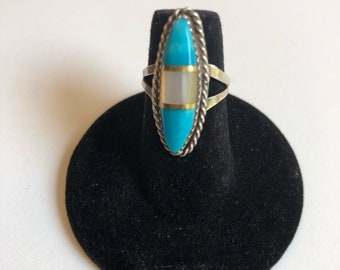 Zuni Turquoise and Mother of Pearl Ring