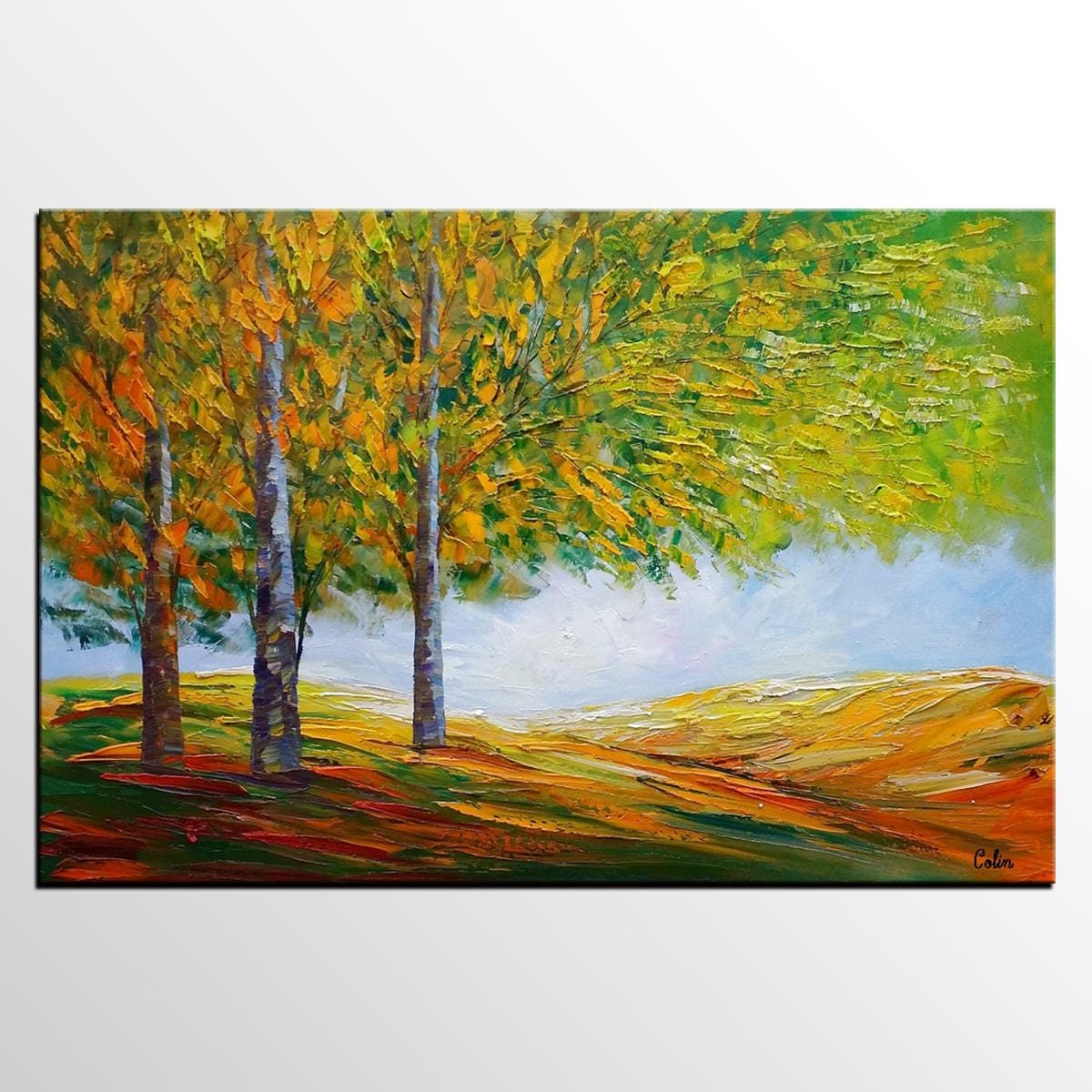 Birch Tree Landscape Painting Oil Painting Abstract Art