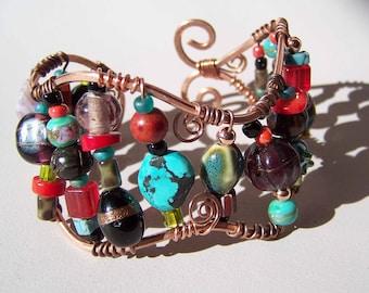 Custom Copper and Bead Bracelet