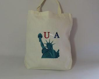 USA Statue of Liberty Tote Bag, USA Bag, Grocery Bag, Gift Bag, Book Bag, Statue of Liberty Bag, Reusable Tote Bag