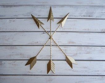 "Metal ARROWS Wall Art 15"" GOLD Hanging Native American Tribal Western Wall Decor - Home Cabin Decor"