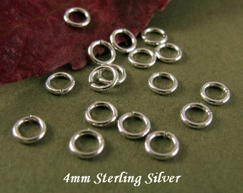 Sterling Silver Jump Rings 4mm  - 21 Gauge OPEN  50 Jumprings Small Circle Connectors Links - Oakhill Silver Supply - JR10a