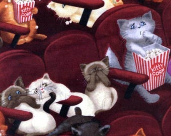 Timeless Treasures - Pawsitively Purrfect - Wine Scaredy Cats In Movies - Fabric by the Yard C8141-WINE