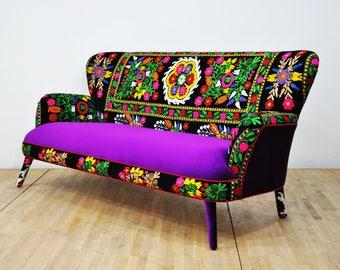 Suzani 3-seater sofa - purple love