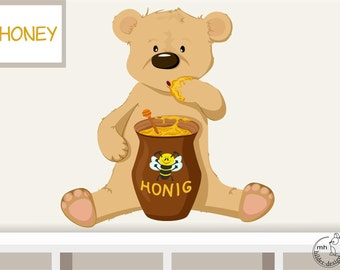 """Wall decal """"honey bear"""" personalizable wall sticker for baby  nursery children's room"""