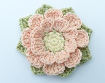 Crochet appliques, Crochet flowers, 1 large eight-petal applique flower. Cardmaking, scrapbooking, handmade,sew on patches. embellishments