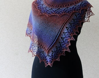 Elegant wool lace scarf - dark red, blue