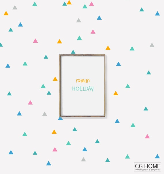 multicolor TRIANGLE decals BIG Pack Mini Triangles pattern Vinyl Wall Art SCANDINAVIAN Nursery Stickers Decoration for kids Customized wall