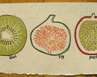 Kiwi, Fig and Passion Fruit linocut print