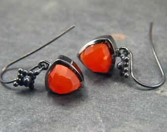 Bright Natural Carnelian & Oxidized Silver Small Dangling Earrings Trillion Cushion Gemstone Earrings French Hook Dangles Everyday Earrings