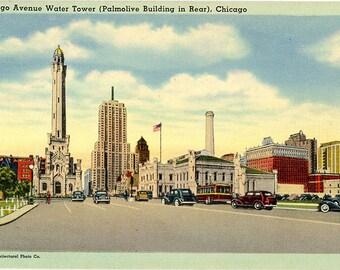 Chicago Avenue Water Tower Palmolive Building Illinois Vintage Postcard (unused)