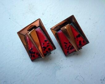 1960s Copper and Enamel Mid Century Earrings - Clip on - Red Black Enamel