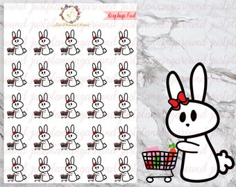 Grocery, Shopping, Rosy the Bunny Stickers, Planner Stickers