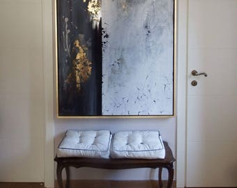 Abstract painting black white gold Modern Art