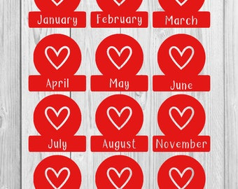 Monthly Decals in Heart Tab