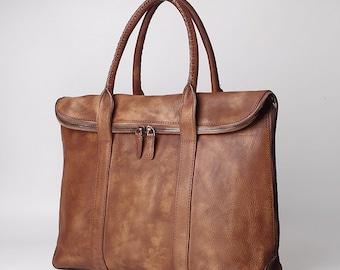 Brown Leather Handbag, Men's Briefcase, Personalized Briefcase, Laptop Tote, Laptop Briefcase, Leather Tote,14 inch Laptop Bag