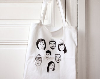 Friends faces print cotton tote bag