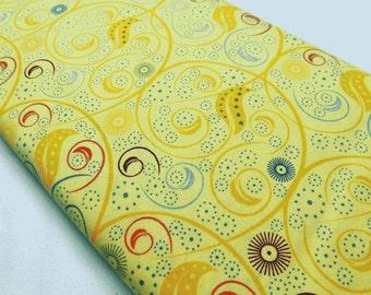 Yellow, Quilting, Sewing, Quilt Fabric, Califon, Mark Lipinski, Swirls, Atomic Star,, Designer Fabrics, By The Meter, Colorful Fabrics