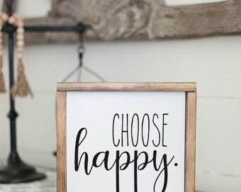 Choose Happy Sign   Framed Canvas Sign   Farmhouse Sign   Farmhouse Decor   Canvas Sign With Words   Wall Decor   Home Decor   Wood Frame