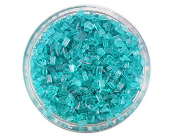 Teal Chunky Sugar - tuquoise teal sugar crystals sprinkles for decorating cupcakes, cakes, cakepops, and cookies