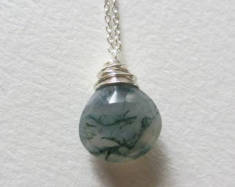 Moss Agate Necklace - Wire Wrapped Sterling Silver Jewelry Handmade in Seattle in the Pacific Northwest - Green and White Gemstones