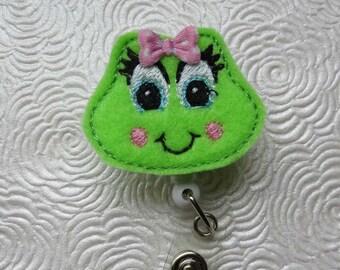 Bright Green Girly Frog  Badge Reel - Retractable Badge Reel - ID Holder