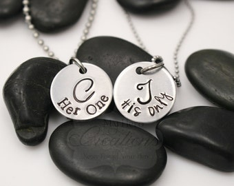 Hand-Stamped Monogramed Couples Necklace Set