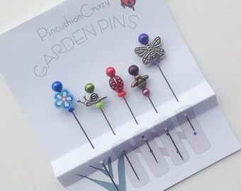 Garden Pins - Sewing Accessory - Gift for Quilter - Beaded Pins - Decorative Sewing Pins - Fancy Straight Pins - Pincushion Pins - Gardener